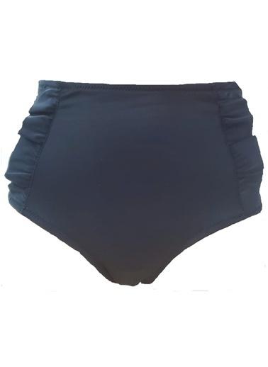 Deep Beach Fırfır Detaylı Yüksek Bel Bikini Altı Siyah